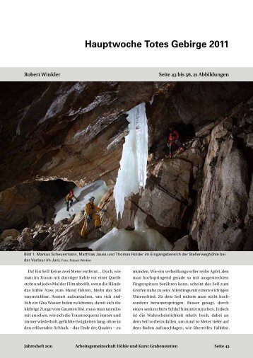 Hauptwoche Totes Gebirge 2011 - Arbeitsgemeinschaft Höhle und ...