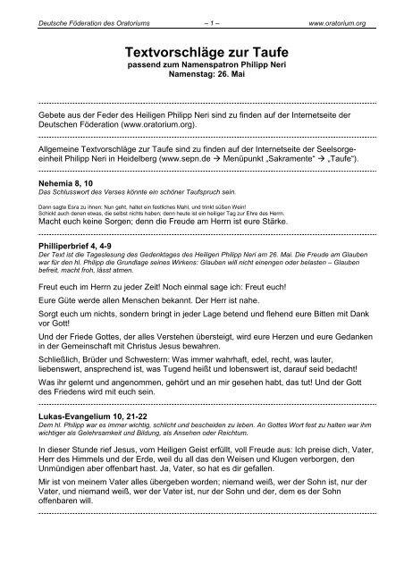 Textvorschläge Zur Taufe Oratorium Des Hl Philipp Neri