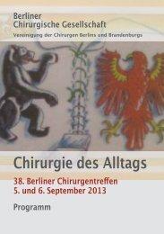 Vollständiges Programm 2013 - 38. Berliner Chirurgentreffen