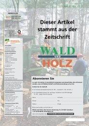 Dieser Artikel stammt aus der Zeitschrift - Wald.ch