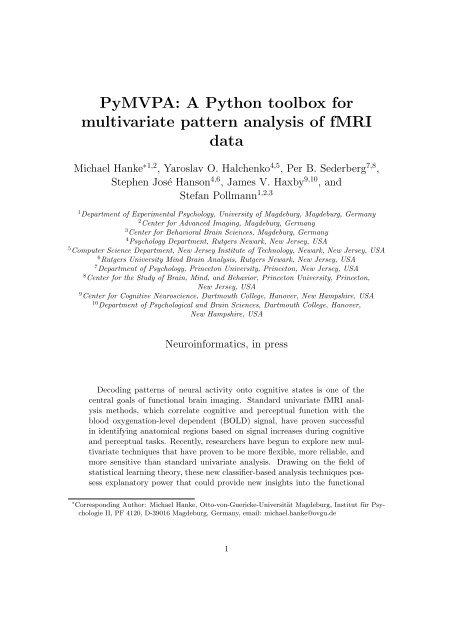 PyMVPA: A Python toolbox for multivariate pattern