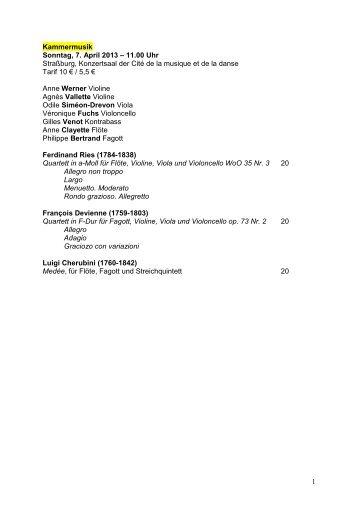 1 Kammermusik Sonntag, 7. April 2013 – 11.00 Uhr Straßburg ...