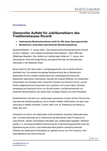 Glanzvoller Auftakt für Jubiläumsfeiern des ... - Bertelsmann AG