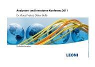 Präsentation zur Analystenkonferenz (PDF) - LEONI
