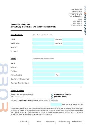 Gesuch für ein Patent zur Führung einer Gastwirtschaft - Bassersdorf