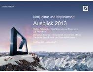 Ausblick 2013 - Deutsche Bank