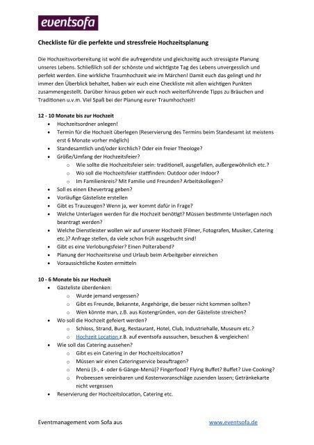 Checkliste Hochzeitsplanung Eventsofa