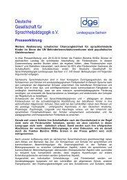 Presseerklärung - Deutsche Gesellschaft für Sprachheilpädagogik