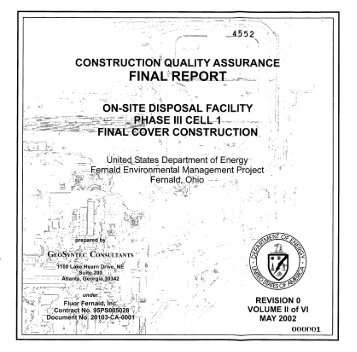 CONSTRUCTIO$ QUALITY ASSURANCE ON-SITE- DISPOSAL ...