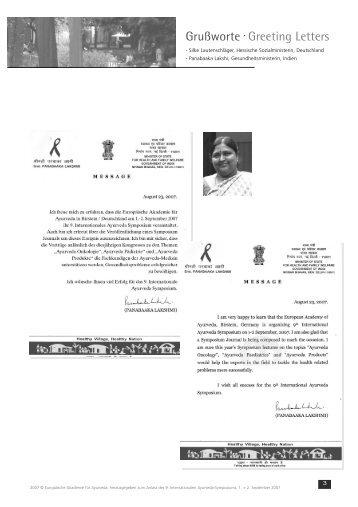 Grußworte. Greeting Letters - Europäische Akademie für Ayurveda