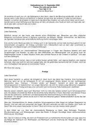 Gottesdienst am 14. September 2008 Thema: Ein Leib und ein Geist ...