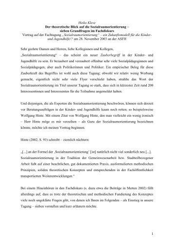 1 Heiko Kleve Der theoretische Blick auf die Sozialraumorientierung ...
