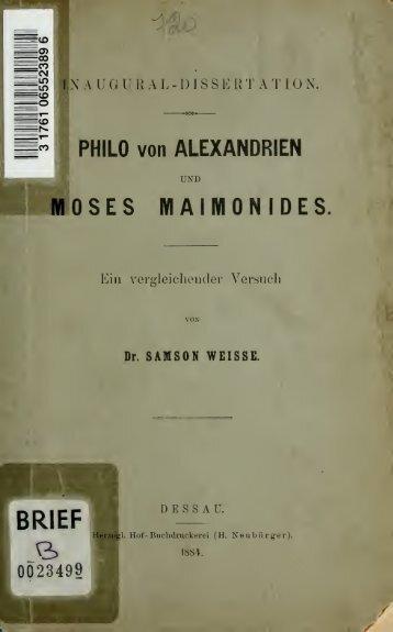 Philo von Alexandrien und Moses Maimonides: ein vergleichender ...