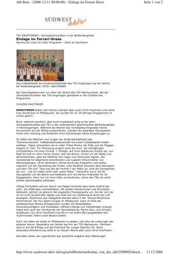 Seite 1 von 2 Alb Bote - (2006-12-11 00:00:00) - Einlage im Ferrari ...