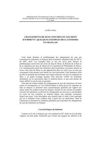 quelques exemples des latinismes en français