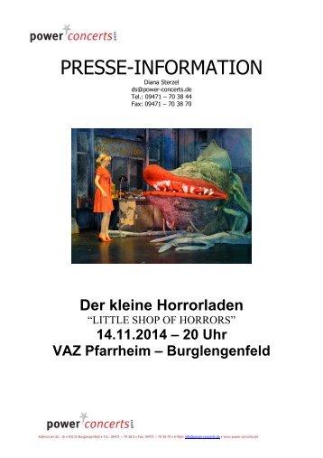 PRESSE-INFORMATION - Power Concerts Veranstaltungen
