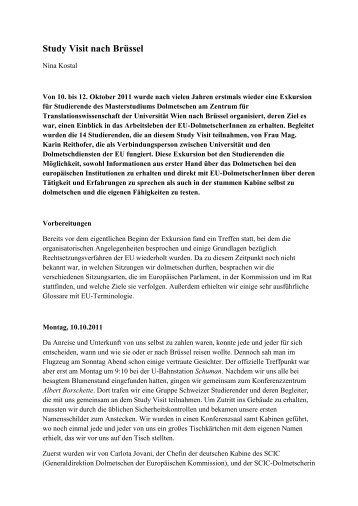 Bericht von Nina Kostal über den Study Visit in Brüssel 2011