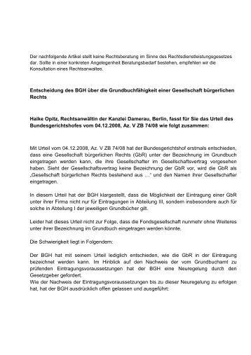 BGH zur Grundbuchfähigkeit einer GbR - fondsmanagement-inside.de