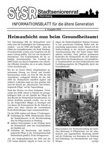 Info-Blatt Stadtseniorenrat 2. Ausgabe 2005 ... - Stadt Nürnberg