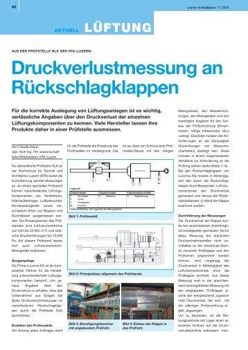 Druckverlustmessung an Rückschlagklappen - Lucoma AG