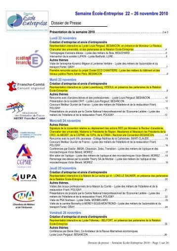 189 2010 2011 Dossier de presse SEE - Relation école entreprise