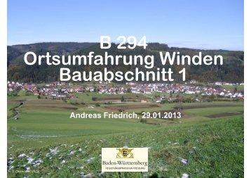 B 294 Ortsumfahrung Winden Bauabschnitt 1 Andreas Friedrich ...