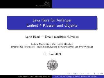 Java Kurs für Anfänger Einheit 4 Klassen und Objekte
