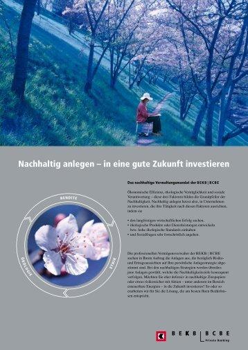 Nachhaltig anlegen – in eine gute Zukunft investieren - BEKB