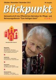 Blickpunkt Oktober - Dezember 2012 (pdf - 2MB) - Zum Heiligen Geist