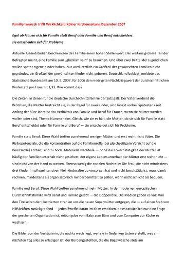 Familie - Wunsch gegen Wirklichkeit - Elisabeth-juenemann.de