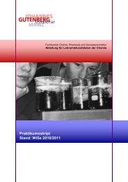 Praktikumsskript Stand: WiSe 2010/2011 - Fachbereich Chemie ...