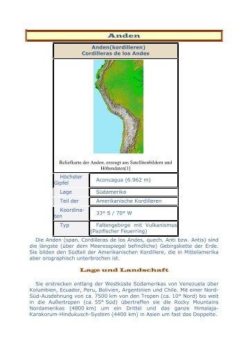 Anden(kordilleren) Cordilleras de los Andes Reliefkarte der ... - Reisen
