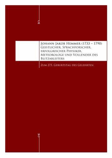 Johann Jakob Hemmer (1733 – 1790) Geistlicher, Sprachforscher ...