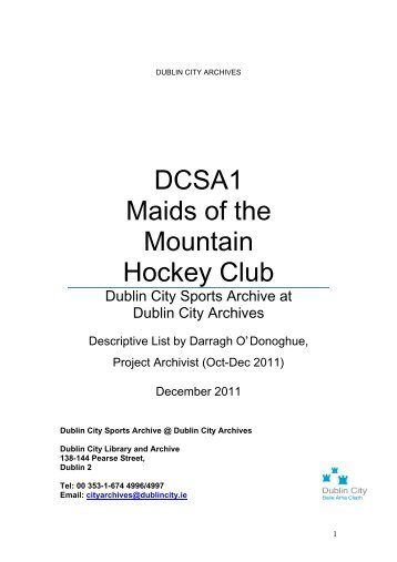 Maids of the Mountain Collection list - Dublin City Council