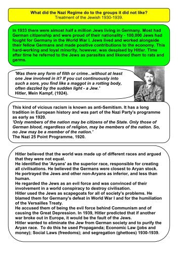 The Nazi Regime and Jews 1930-39 - Toot Hill School