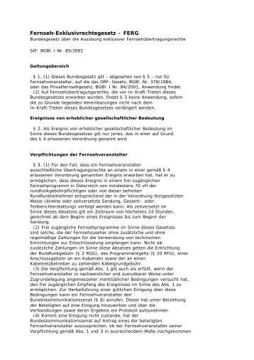 Fernseh-Exklusivrechtegesetz - FERG (PDF, 13 KB) - Sportministerium