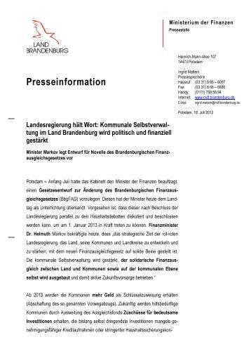 FAG Novelle vorgelegt.pdf - Ministerium der Finanzen - Land ...
