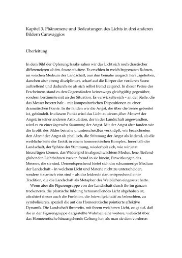 Kapitel 3. Phänomene und Bedeutungen des Lichts in drei anderen ...
