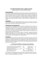 STUDIENINFORMATION AFRIKANISTIK - UK-Online