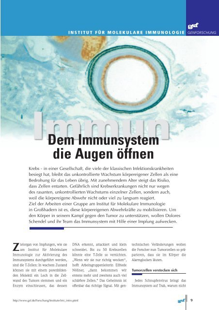 Dem Immunsystem die Augen öffnen - Helmholtz Zentrum München