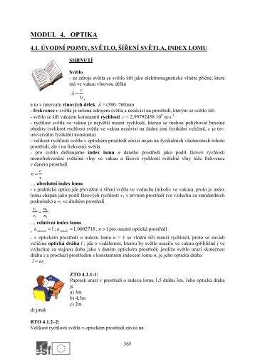Příklady - modul 4. Optika a atomové jádro