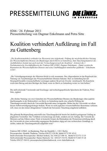 Koalition verhindert Aufklärung im Fall zu Guttenberg - Dagmar ...
