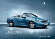 Preisliste Mercedes-Benz E-Klasse Cabriolet (A207) vom 21.06.2010.