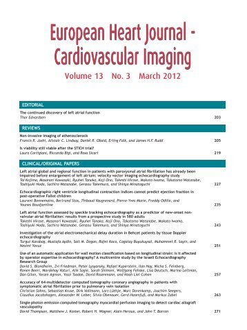 Table of Contents (PDF) - EHJ Cardiovascular Imaging