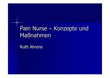 Pain Nurse – Konzepte und Maßnahmen - Bildungswerk Irsee