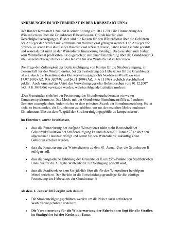Änderungen im Winterdienst in der Kreisstadt Unna - Stadtbetriebe ...