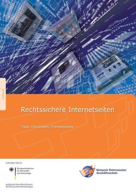"""Leitfaden """"Rechtssichere Internetseiten"""" - NEG Website Award"""
