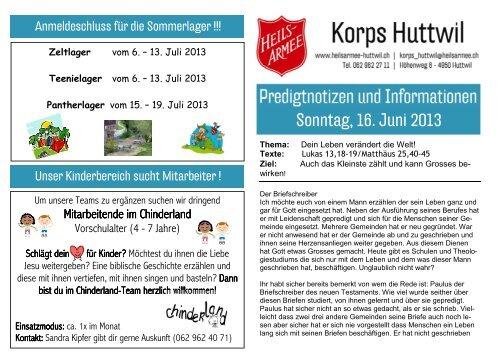 Vorlage Predigtnotizen Heilsarmee Huttwil