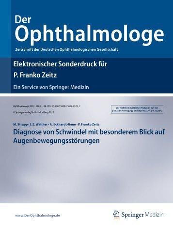 Diagnose von Schwindel mit besonderem Blick auf ...