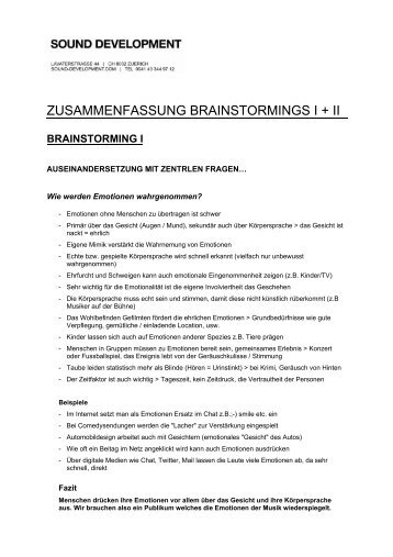 zusammenfassung brainstormings i + ii - Sound Development